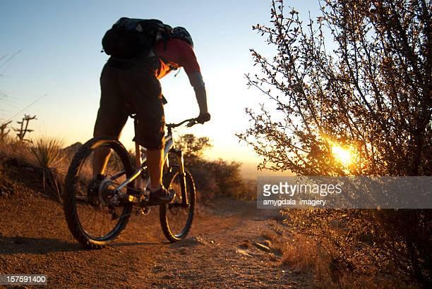 mountain biking sunset - sandia mountains stock photos and pictures