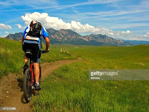 Mountain biking towards flatirons