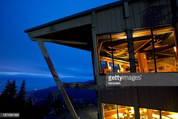 mountain chalet, restaurant - grouse mountain stock photos and pictures