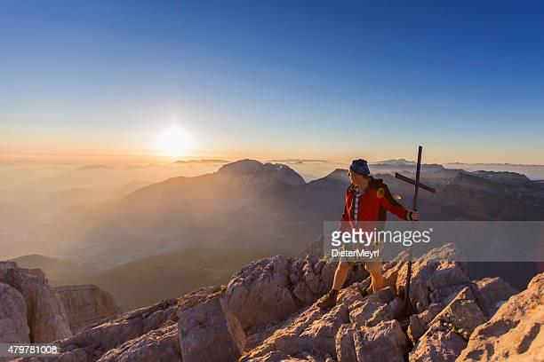 Mountain climber am mount Watzmann, Hocheck peak