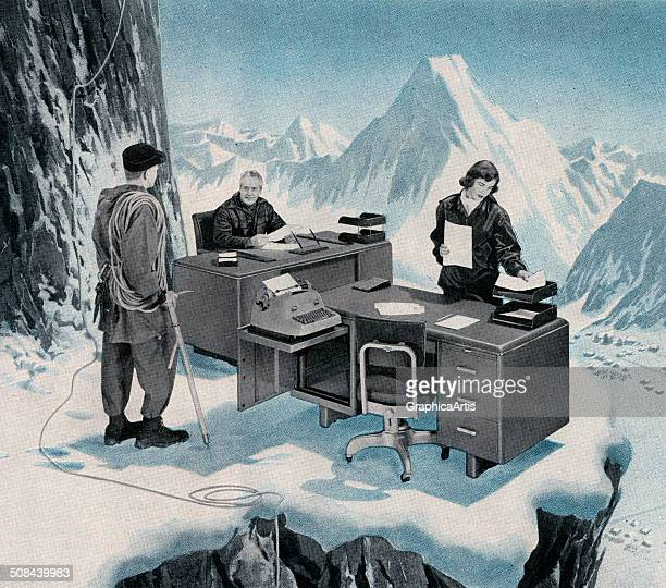 Mountain climber discovering a business office on an icy ledge high in the mountains 1955 Screen print