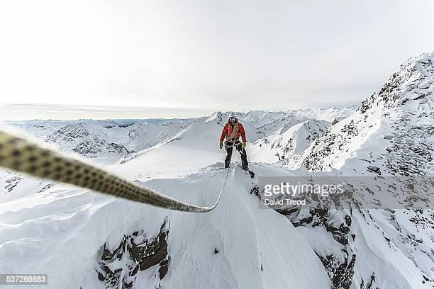 Mountain climber on a ridge in the Austrian Alps