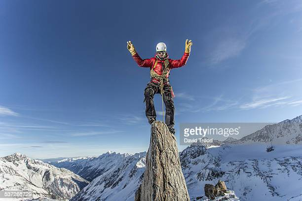 mountain climber on rock - on top of stock pictures, royalty-free photos & images