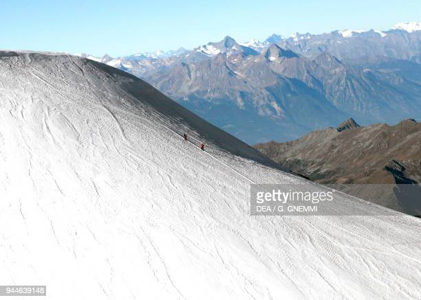 Mountain climbers ascending a snowcovered peak of Monte Rosa massif between Italy and Switzerland