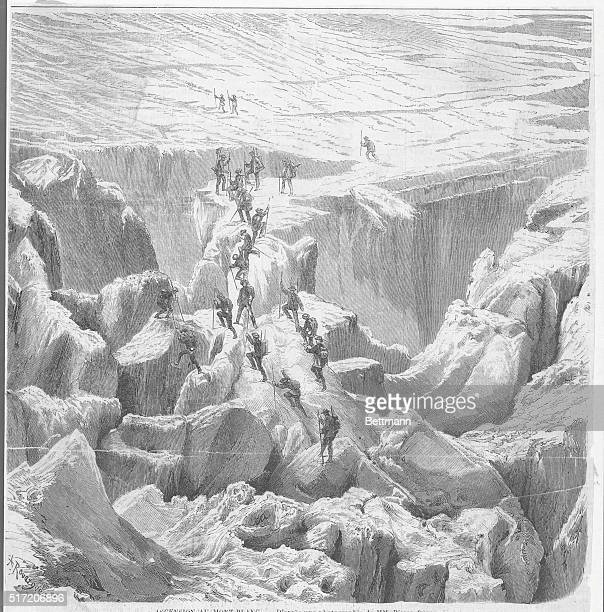 Mountain climbers ascending Mont Blanc circa 1860 Woodcut from a photograph by the Bisson Brothers