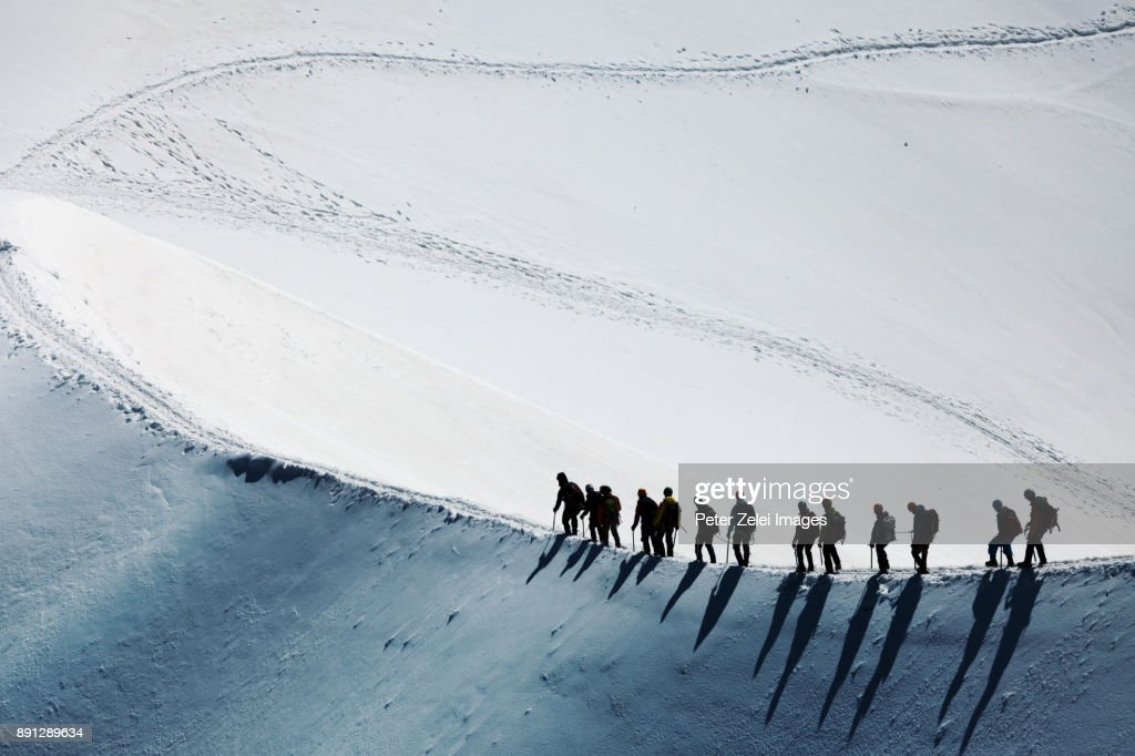 Mountain climbers in the Mont Blanc massif : Stock Photo
