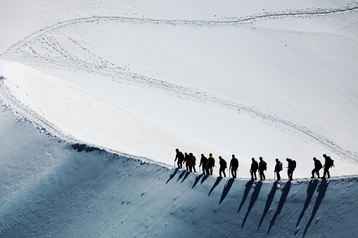 Mountain climbers in the Mont Blanc massif - gettyimageskorea
