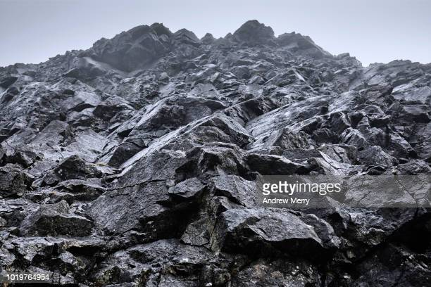 mountain climbing point of view, black cuillin mountain ridge, isle of skye - basalt stock pictures, royalty-free photos & images