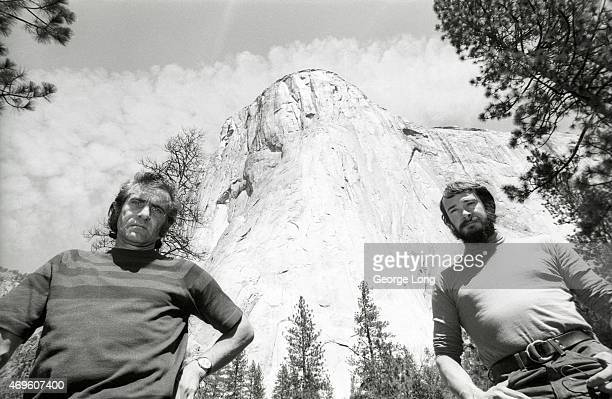 Portrait of Warren Harding and Dean Caldwell posing during photo shoot in front of El Capitan mountain in Yosemite National Park Sierra Nevada range...