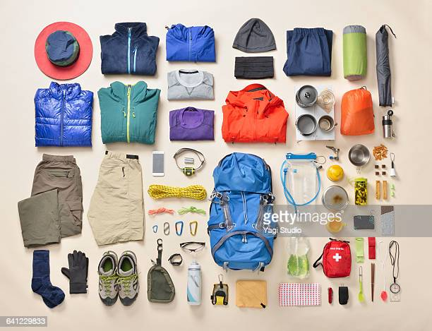 mountain climbing supplies shot knolling style - 物の集まり ストックフォトと画像