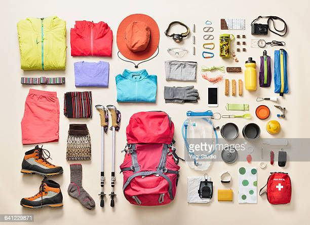 mountain climbing supplies shot knolling style - group of objects stock pictures, royalty-free photos & images