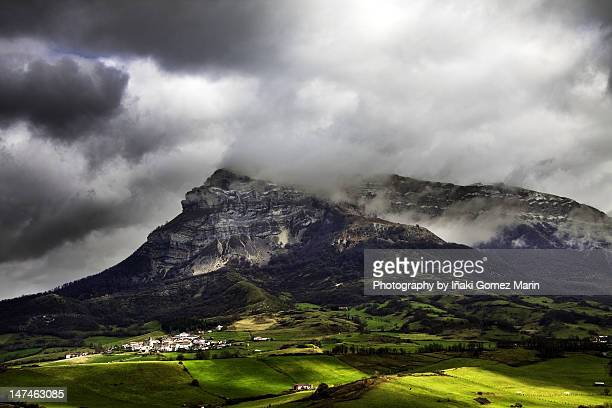 Mountain covered with clouds