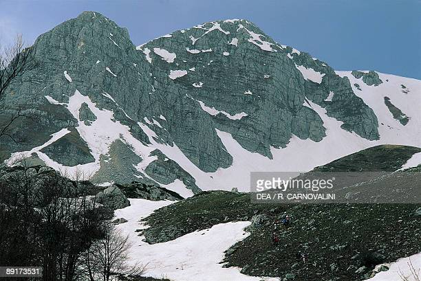 Mountain covered with snow Monte Meta Abruzzo National Park Abruzzo Italy
