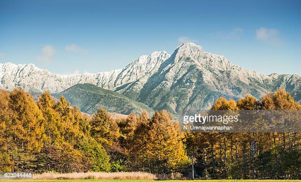 mountain covering by snow during autumn in japan - 栃木県 ストックフォトと画像