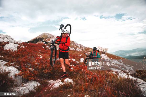 mountain cycling - georgijevic mountain biker stock pictures, royalty-free photos & images