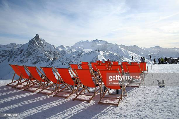 mountain deckchairs - courchevel stock pictures, royalty-free photos & images