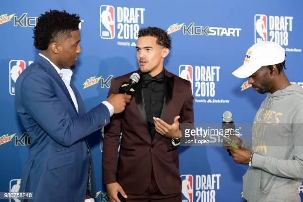 Mountain Dew Courtside Correspondent Donovan Mitchell speaks to NBA Draft Prospect Trae Young on the Mountain Dew Kickstart Green Carpet at the 2018...