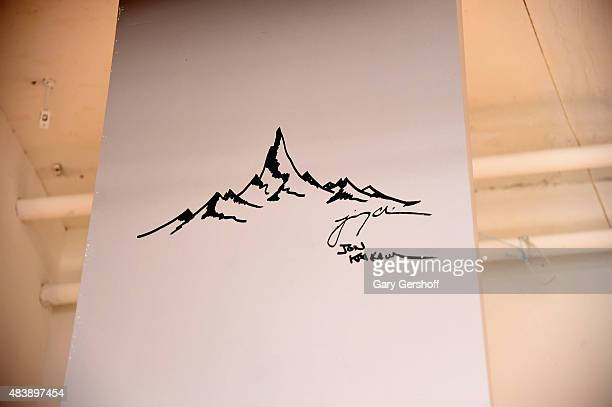 "Mountain drawing with signatures of Jon Krakauer and Jimmy Chin seen at AOL Build Presents: ""MERU"" at AOL Studios In New York on August 13, 2015 in..."
