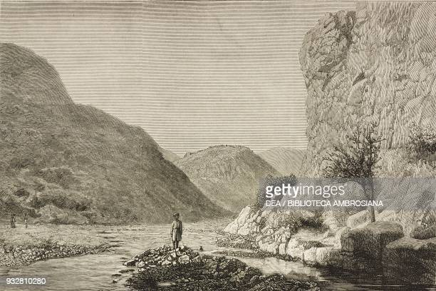 Mountain gorge below Ali Masjid Afghanistan Second AngloAfghan War illustration from the magazine The Graphic volume XIX no 497 June 7 1879