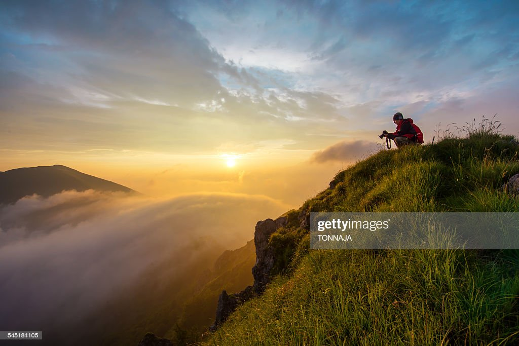 Mountain Grona summit with sunrise : Stock Photo