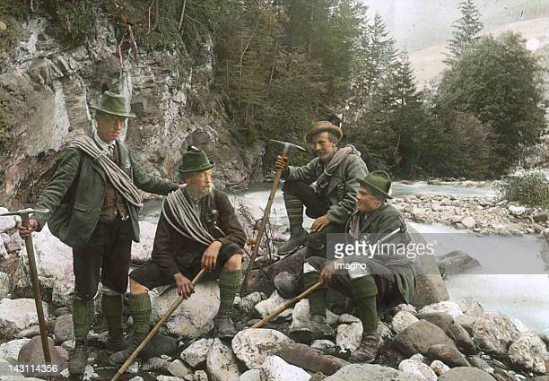 Mountain Guides in Tyrol Handcolored lantnern slide around 1910