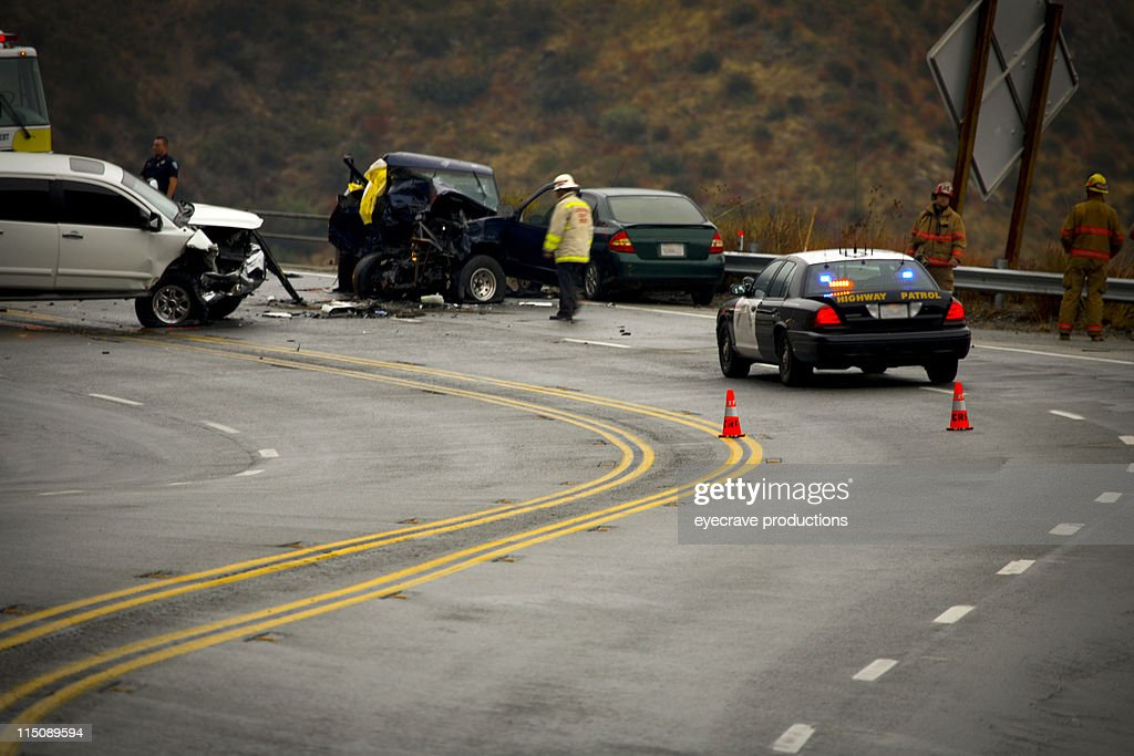 mountain highway - auto accident fatality : Stock Photo