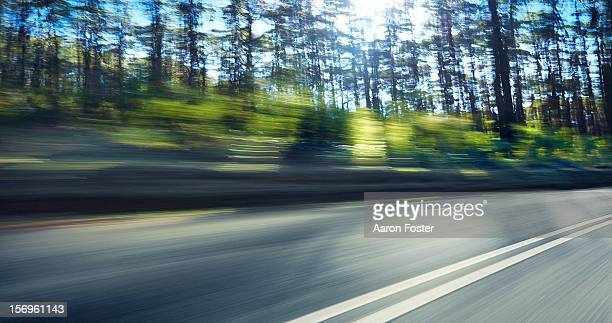 mountain highway through the trees - road stock pictures, royalty-free photos & images