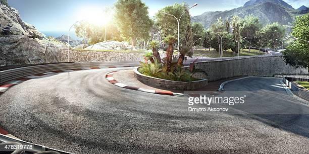 mountain highway track - motorsport stock-fotos und bilder