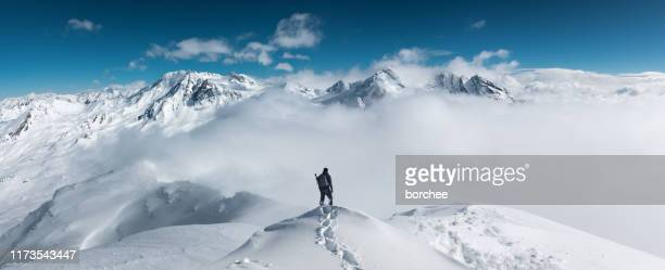 mountain hiking - trois vallees stock pictures, royalty-free photos & images