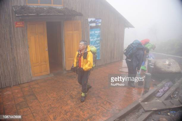 Mountain hut refuge for trekkers and the porters who carried the materials for the new cable car Fansipan mountain in Vietnam with the highest peak...