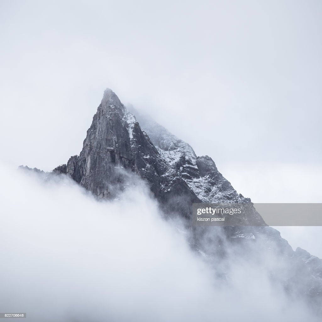 mountain in Bipenggou in Sichuan surrounded by clouds ( China ) : Stock Photo