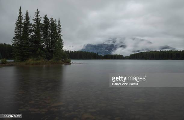 Mountain in Two Jack Lake in Banff National Park.