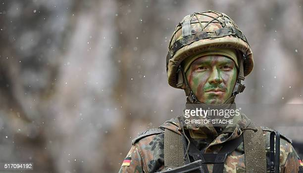 A mountain infantry soldier pictured after an exercise of the mountain infantry brigade 23 of the German Bundeswehr at an exercise area near the...