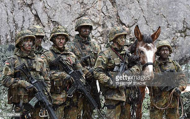 Mountain infantry soldiers pictured after an exercise of the mountain infantry brigade 23 of the German Bundeswehr at an exercise area near the...