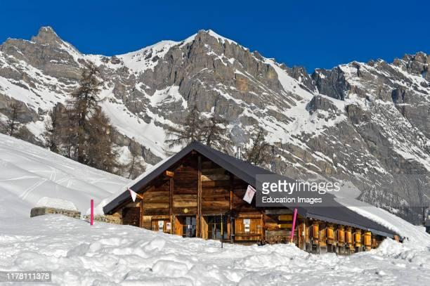 Mountain inn Loutze in winter Ovronnaz Valais Switzerland