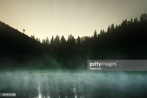 mountain lake at dawn