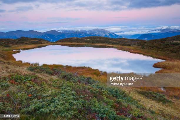 Mountain lake in BÙndner Alps Grisons Switzerland