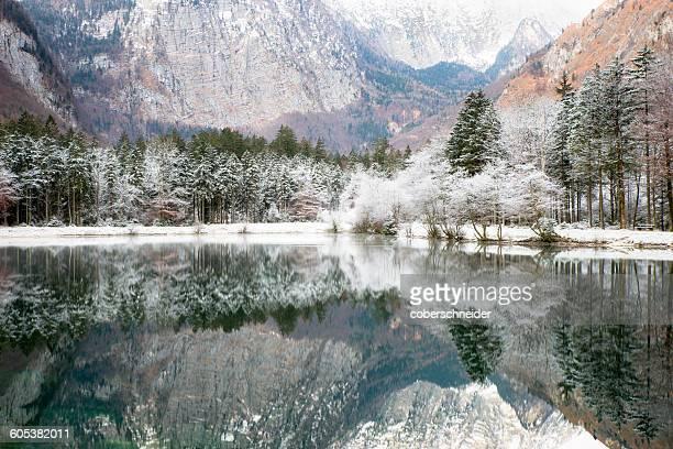 Mountain lake in winter near Salzburg, Austria