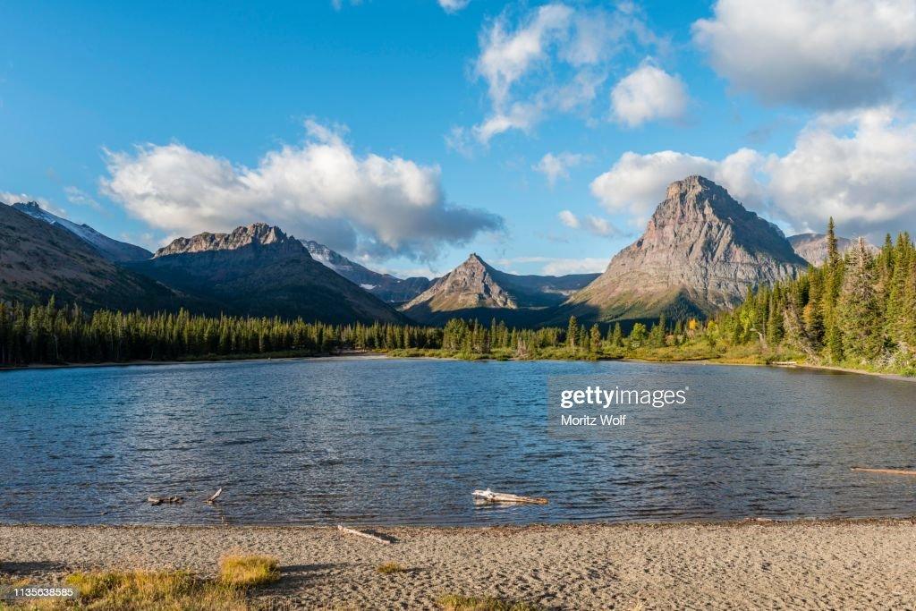 Mountain lake Two Medicine Lake in mountain landscape, back Sinopah Mountain, Glacier National Park, Montana, USA : Stock Photo