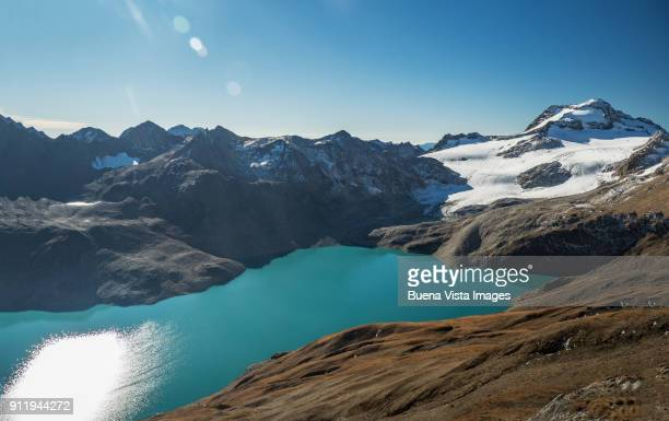 Mountain lake under shrinking glacier