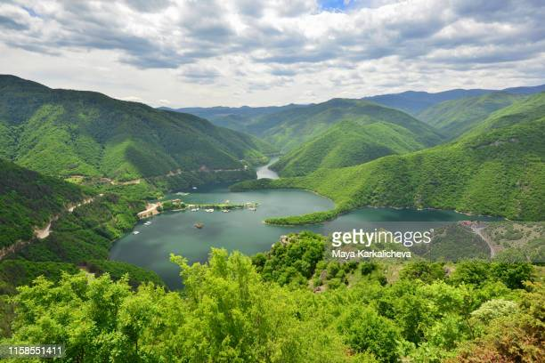 mountain lake with meanders surrounded by green woodland - environmental issues imagens e fotografias de stock