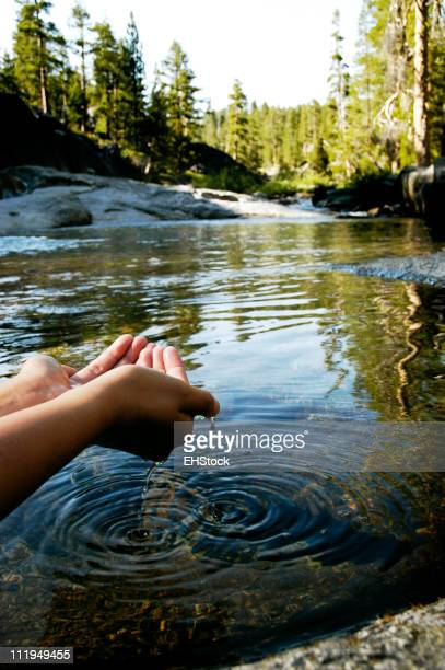 Mountain Lake with Woman's Hands Cupping Water Yosemite National Park
