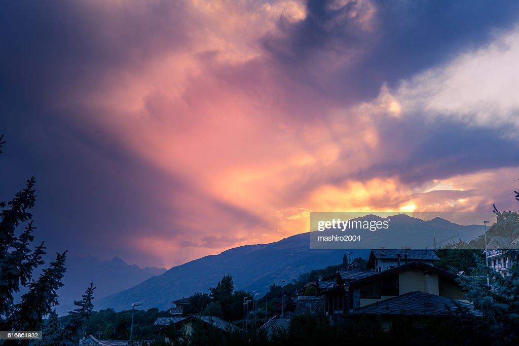 mountain landscape at autumn sunset : Stock Photo