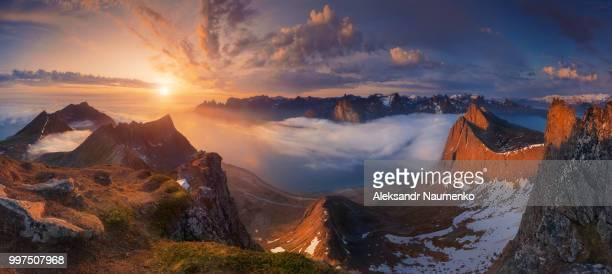 a mountain landscape at sunset, senja, norway. - norden stock-fotos und bilder