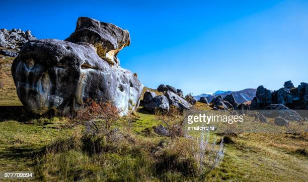 mountain landscape, castle hill, south island, new zealand - castle mountain stock photos and pictures