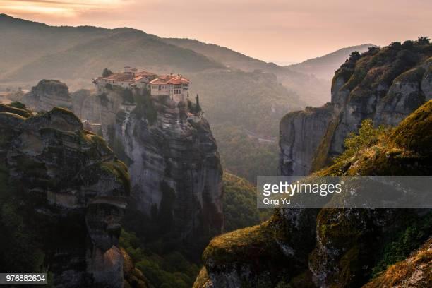 mountain landscape, greece - 僧院 ストックフォトと画像