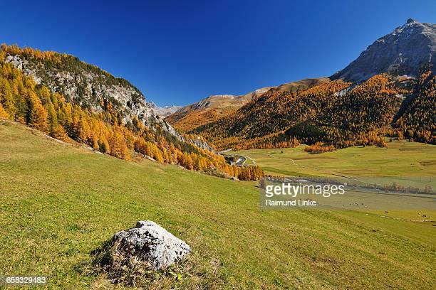 mountain landscape in autumn - kanton graubünden stock-fotos und bilder
