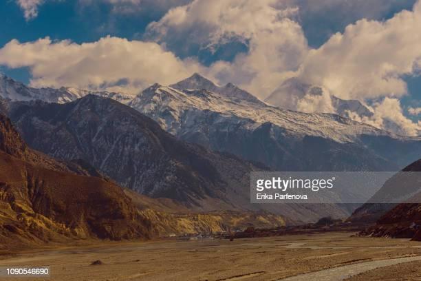 Berglandschaft in Nepal, Mustang, Himalaya, Kagbeni, Kali Gandaki