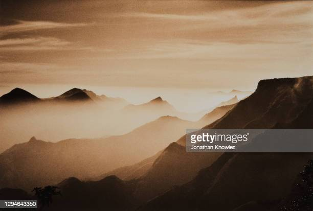 mountain landscape in tamil nadu - sepia toned stock pictures, royalty-free photos & images