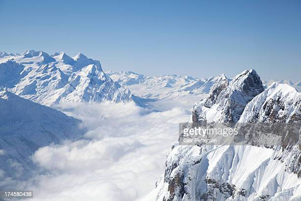 mountain landscape in winter - european alps stock photos and pictures